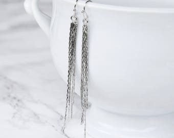 Silver Chain Tassel Earrings, Sparkly Silver Chain Earrings, Sparkly Silver Earrings, Long Tassel Earrings, Dangle Tassel Earrings