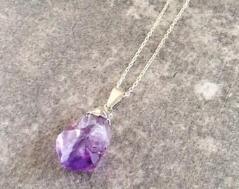 Amethyst Necklace / Raw Amethyst Nugget Necklace / Amethyst Jewelry / February Birthstone / Raw Crystal Necklace / Amethyst Pendant