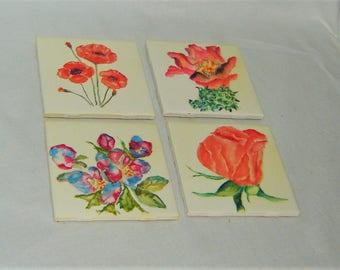 Coaster Set - Flower Watercolor Paintings - Poppy Rose Cactus Flower Berry Bush - 4 Coaster Paintings - High Gloss, Cork Backing, 4 x 4 Tile