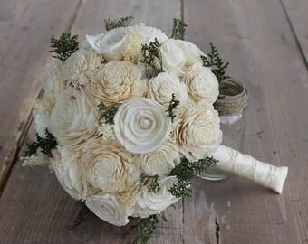 Ivory Sola Flower Bouquet, Cream Sola Flower Bouquet, Cream Sola Wood Bouquet, Rustic Wedding, Baby Breath Bouquet, Off White Sola Flowers