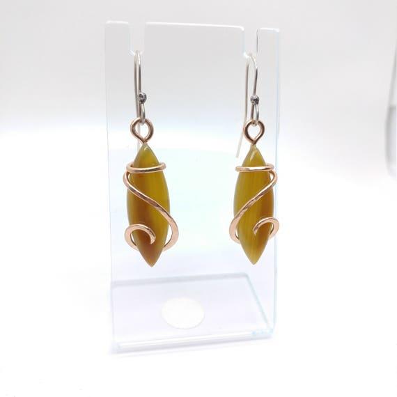 Gemstone Earrings | Rose Gold Earrings | Opal Earrings | Royal Imperial Jasper | Boho Earrings | Natural Stone Earrings | Common Fire Opal