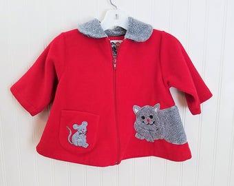 Vintage Baby Girls Coat Red Baby's Coat Red Girls Coat Appliqued Coat Toddler Coat Cat and Mouse