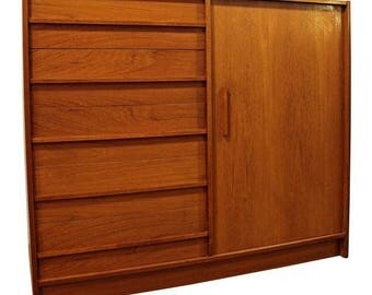 Mid-Century Gentleman's Chest Danish Modern Teak Armoire Wardrobe Tall Chest #2