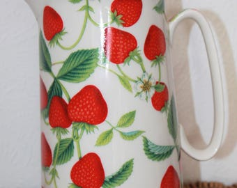 Large Strawberry Patterned Jug. Classic English Cottage Style. By Heron Cross Pottery