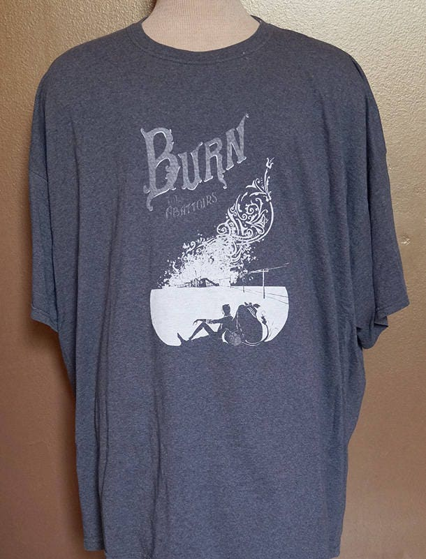 "4XL ""Burn the Abattoirs"" Tee, White Ink on Gray"
