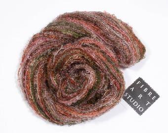 Bebe>> Kid Mohair Boucle Loop Yarn |  DK | 50g 200yds | Kid Mohair Nylon | Red Green Brown Beige Variegated Yarn | Apple Harvest