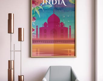 Taj Mahal, Agra, India, City Print, Taj Mahal Print, Taj Mahal monument Illustration, Taj Mahal at Agra, India Wall art.