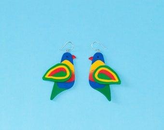 Rainbow Lorikeet Earrings - Sterling Silver - Australiana