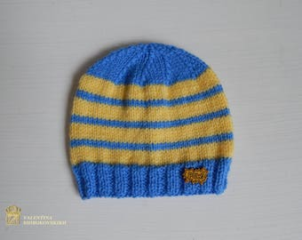 Newborn boy hat. Knitted hat. Hand Knitted baby beanie. Newborn gift. Blue and yellow hat.