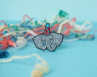 Sad Elephant - Soft Enamel Pin - It's Ok to be sad - Mental Health - Cry - Katie Abey