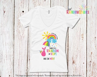 Due In MAY Rainbow Pregnancy Shirt, Ladies Deep V-Neck Tee, After Every Storm There Is A Rainbow Of Hope Maternity T-Shirt