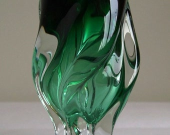 Turned vase in the colour green to design by Josef Hospodka for Chribska Czechoslovakia.