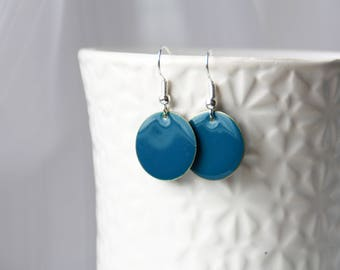 Ohrringe, earrings, Emaille, blue enamel earrings, enamel earrings, little disc earrings, silver earrings, teal earrings, dangle earrings