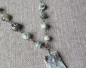 celadon green ceramic unique necklace, very long art bead necklace, unique jewelry gift, elegant pale green artisan necklace, pastel green