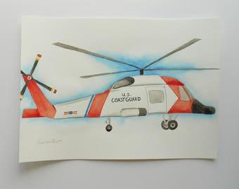 Original Watercolor Illustration // US Coast Guard MH-65 Jayhawk Helicopter