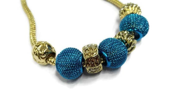 European style metal chain bracelet with large hole beads