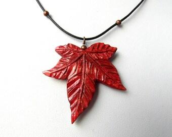 MAPLE LEAF pendant / handcarved on maple wood /both sides carved