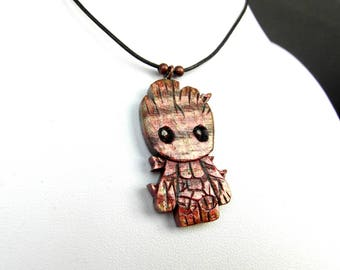 BABY GROOT pendant / handcarved on maple wood