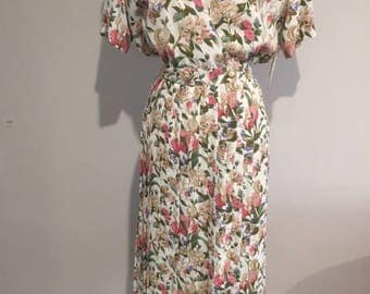 1980's FLORAL DRESS - Removable Cami - New With Tags- Solo Made in Australia - size 16