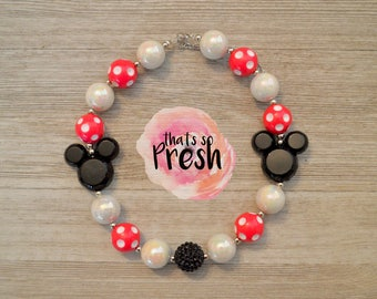 Minnie Mouse Chunky Necklace, Minnie Mouse Chunky Bubblegum Necklace, Minnie Mouse Birthday, Minnie Mouse Party