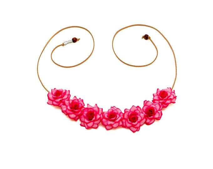 Hot Pink Rose Flower Crown