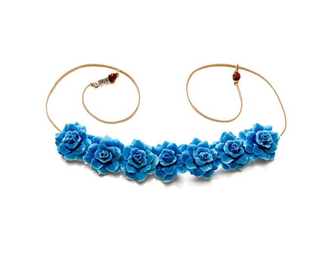 Sky Blue Rose Flower Crown