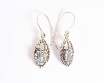 Vintage Sterling Marquise Blue Topaz Dangle Earrings