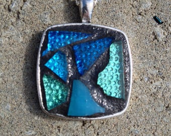 Blue Pendant Necklace Stained Glass Pendant Mosaic Blue Necklace Mosaic Necklace Pendant Blue Stained Glass Jewelry Turquoise Pendant