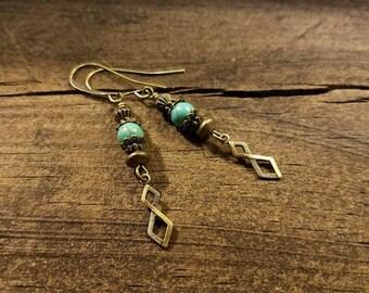 Boho Earrings, Bronze Earrings, Dangle Earrings