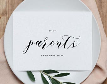 Wedding Card To My Parents, To My Parents on My Wedding Day, Thank You Wedding Card, To My Mom and Dad On My Wedding Day Card, 1 Card, K10