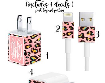 Iphone Charger Wrap, Monogram Iphone charger decal in Pink Leopard Print