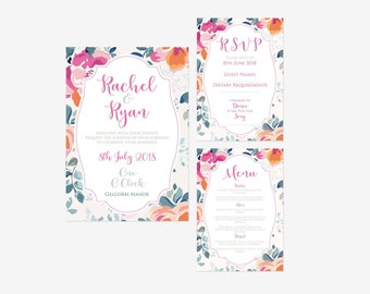 Floral Wedding Invitation, Invite, Wedding Invitation, Vintage wedding