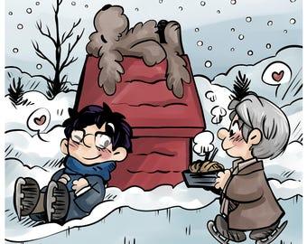 Yuri! on Ice - 'Peanuts on Ice' fanart print - Yuri, Victor and Makkachin