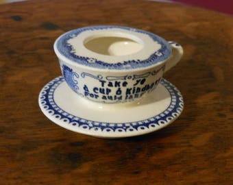 Vintage Cup & Saucer Candle Holder. Enesco Import.