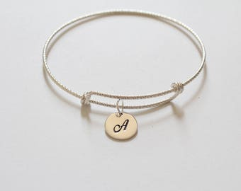 Sterling Silver Bracelet with Sterling Silver Cursive A Letter Charm, Bracelet with Silver Letter A Pendant, Initial A Charm Bracelet