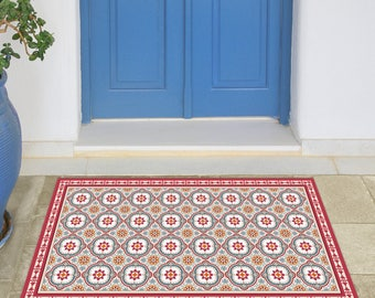 Linoleum Area Rug With Spanish Tiles In Red And Blue. Printed PVC Rug,  Kitchen