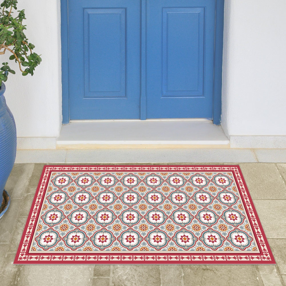 Linoleum area rug with spanish tiles in red and blue printed zoom dailygadgetfo Images