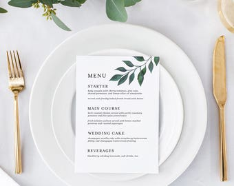 Printable Dinner Menu | Wedding Menu Card | Menu Template | Rustic Wedding Menu | Modern Dinner Menu | M-045