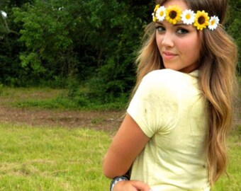 Sunflower Flower Crown,  Boho Flower Crown, Daisy Sunflower Flower Crown, Sorority Flower Crown, Festival Wear, Hippie Headband