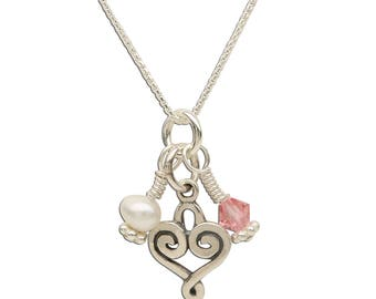 Sterling Silver Heart Charm Necklace with Freshwater Pearl and Swarovski Crystal with Gift Box for Girls (BCN-Heart Cluster)