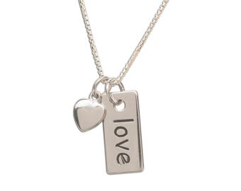 Sterling Silver Love Charm Necklace with a Dainty Heart from our Silver Stories Collection comes in a Gift Box (BCN-Love)