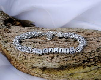 Personalised Health id   bracelet  silver  byzantine with  silver lettering and clasp     Lettering