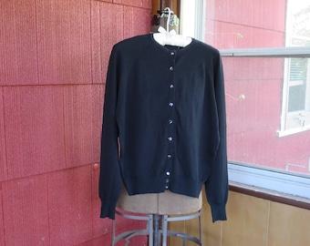 "Vintage 1940s 1950s black cardigan sweater Exmoor Tycora yarn 42"" bust (62417)"