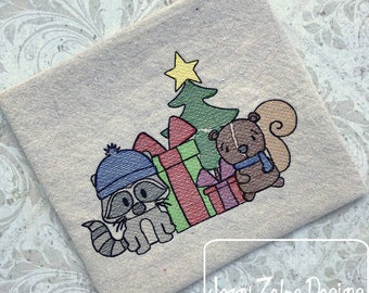 Raccoon and squirrel Christmas sketch embroidery design - raccoon embroidery design - squirrel embroidery design - sketch embroidery design