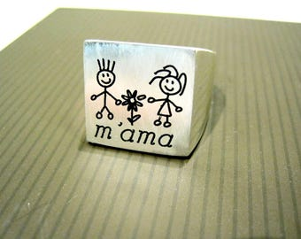 Ring silver engraving Family