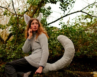 Silver-Grey Wolf Tail & Ears Set! Wolf Ear Headband and 40 inch Long Perky Grey Tail! Grey Faux Fur Furry Snow Dog Husky Fox Cosplay Theatre
