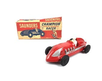 Saunders Tool and Die Plastic Wind Up Belly Tank Racer Toy Rare Saunders Tool and Die Company Aurora Illinois Pre War Toy with Box
