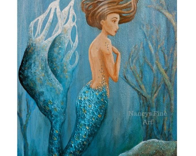 Teal mermaid sitting on the bottom of the sea painting.  Original artwork by California artist, Nancy Quiaoit at Nancys Fine Art.