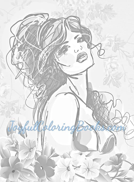 4 Adult Grayscale Coloring Pages Buxom Women Set 2