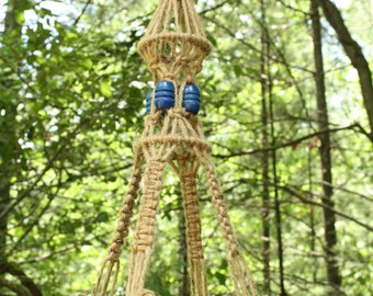 Jute Macrame Plant Hanger with Blue Wooden Beads